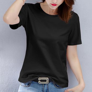 白色T恤女短袖2019新款夏装宽松纯黑色纯棉体恤半袖上衣短款韩版