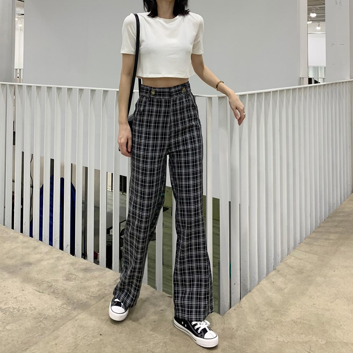 裤子女夏2019新款宽松休闲阔腿裤直筒高腰垂感显瘦百搭薄款格子裤