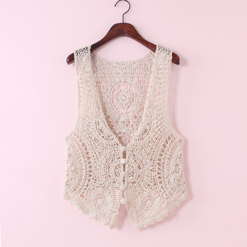 Versatile cut-out sleeveless jacket, net shirt, suspender vest, female lace and knitted vest, cardigan and shawl