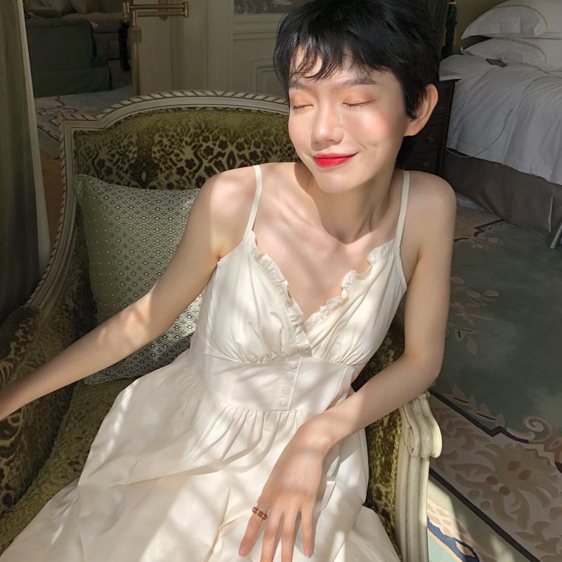 VAGANANA 小众chic法式连衣裙2019夏季新款修身V领过膝吊带中长裙