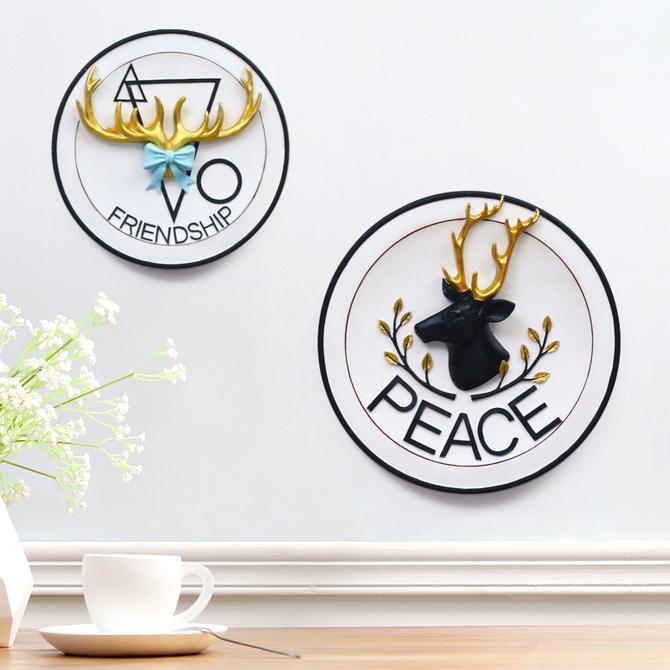 饰品玄关装 饰动物挂件 创意北欧墙上立体圆形动物壁挂餐厅墙壁装