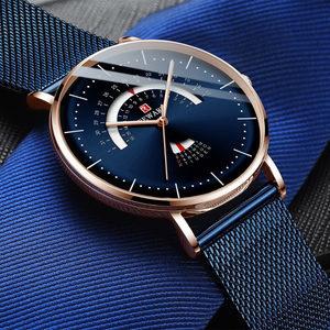 石英表男款防水超薄时尚潮流高中生手表网带曲面玻璃商务个性腕表