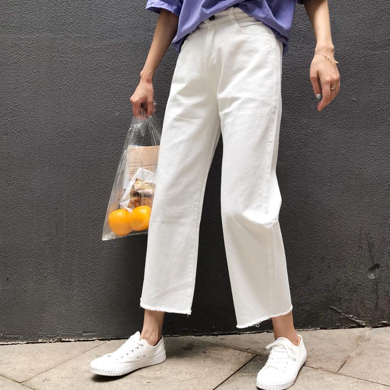 白色宽松牛仔裤女2020春秋款韩版高腰直筒九分毛边原宿bf风阔腿裤