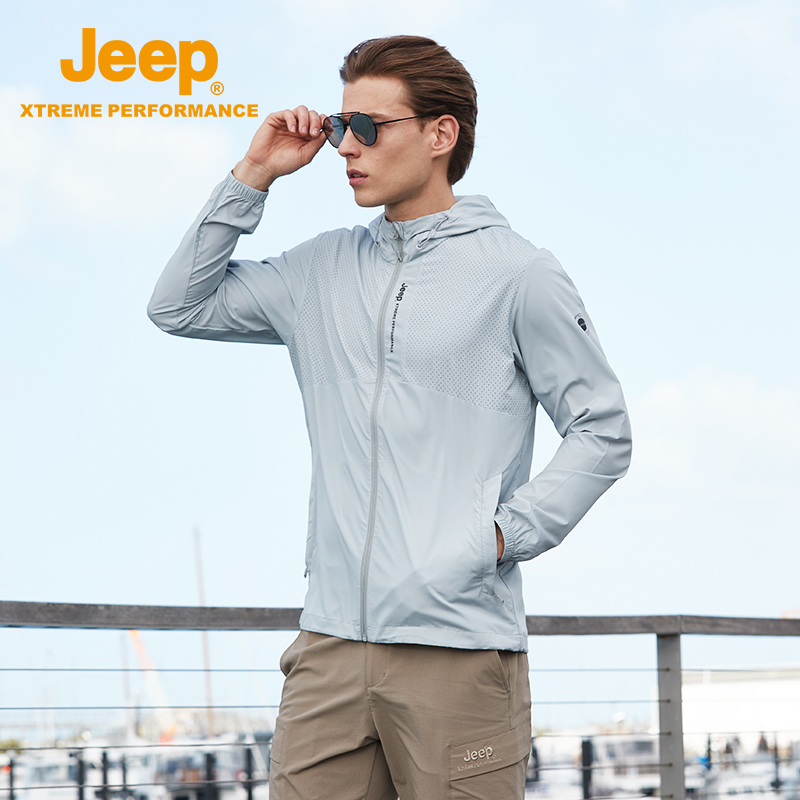 Jeep sunscreen mens breathable punching clothing trend leisure anti ultraviolet mountaineering outdoor sports windbreaker