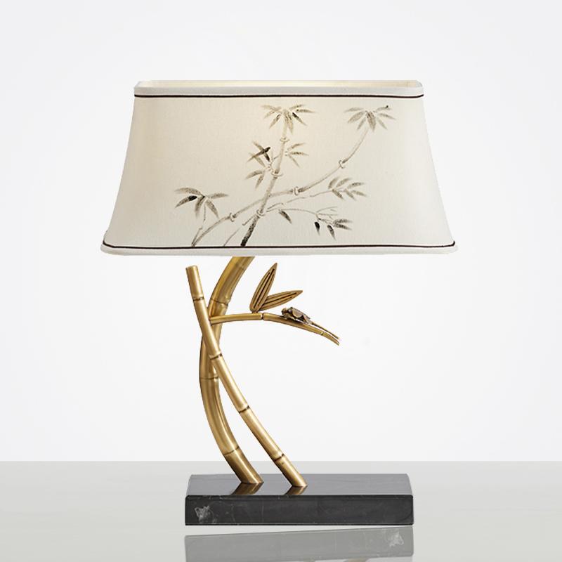 全铜新中式禅意台灯创意设计师大理石卧室床头客厅竹子酒店工程