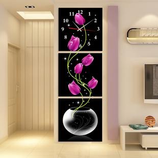 无框画挂钟三联画钟表创意艺术时针客厅玄关装 饰画竖版 抽象花瓶