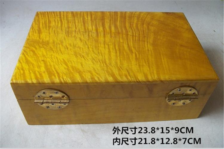 越南大叶金丝楠木首饰盒 实木礼品珠宝盒 加大号水波纹复古储物盒