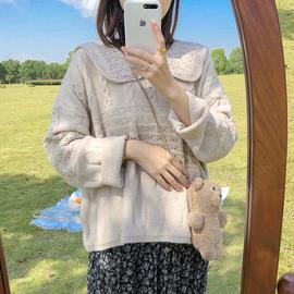 仙气少女毛线衣女秋冬外穿日系甜美麻花毛衣套头娃娃领慵懒针织衫