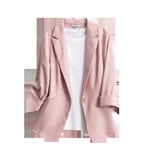 春夏新款七分袖薄款棉麻粉色西裝外套女短款小個子藍色西裝上衣女