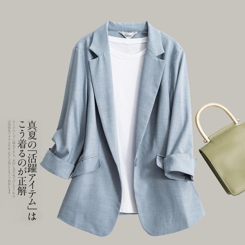 春夏新款韩版天丝亚麻小西装外套女黑色七分袖修身显瘦西服女上衣