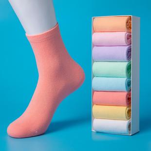 女士糖果色长袜韩版 女袜子纯棉中筒袜秋冬款 厚学院风纯色百搭四季