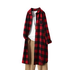2021春装新款中长款长袖格子打底衫