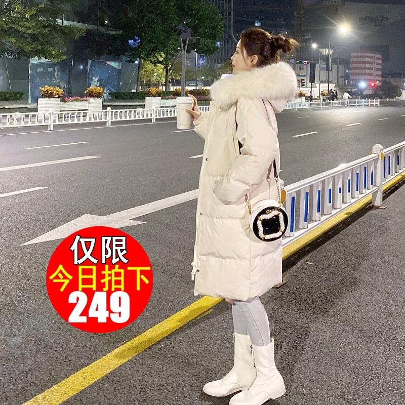 白鸭绒白色黑色羽绒服女中长款2019新款时尚爆款韩版小个子冬外套