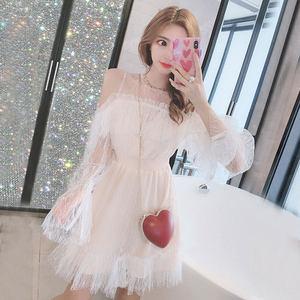 很仙的连衣裙小礼服性感露肩甜美超仙网纱蕾丝收腰显瘦蓬蓬公主裙
