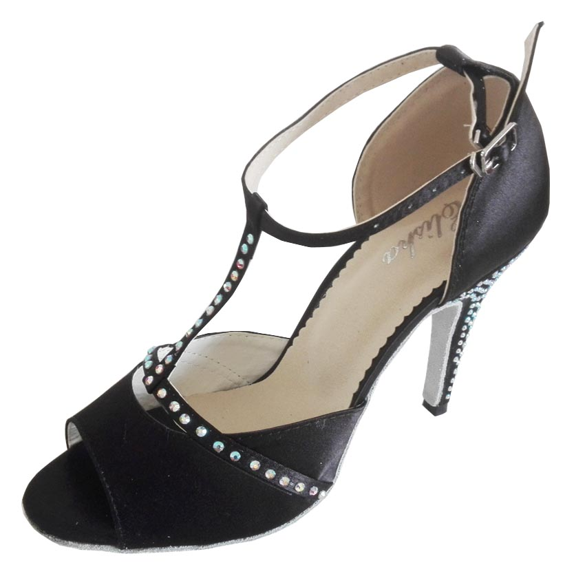 European and American new soft sole Latin dance shoes adult childrens classic black diamond inlaid national standard indoor fitness customized heel