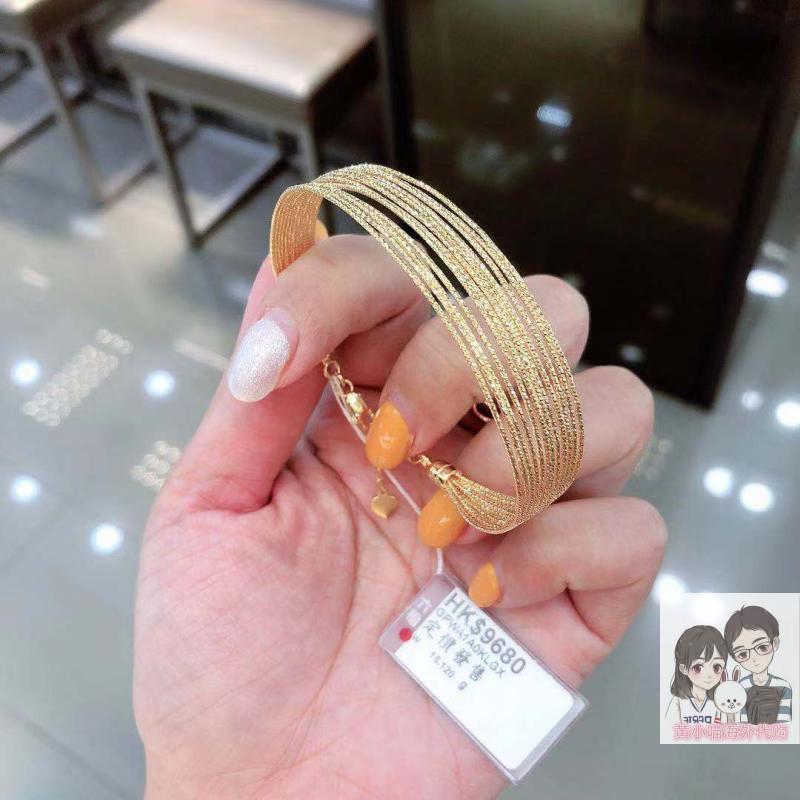 黄小喵香港六福珠宝代购 990足金黄金手镯 时尚款开口手环可调节