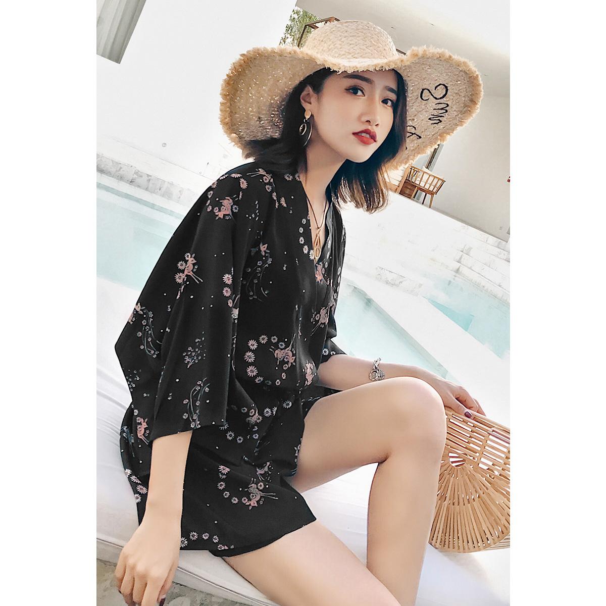 度假小姐黑色套装女夏高腰雪纺裙裤