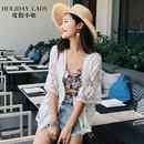 度假小姐白色镂空蕾丝衫七分袖针织开衫女中长款沙滩外搭披肩外套