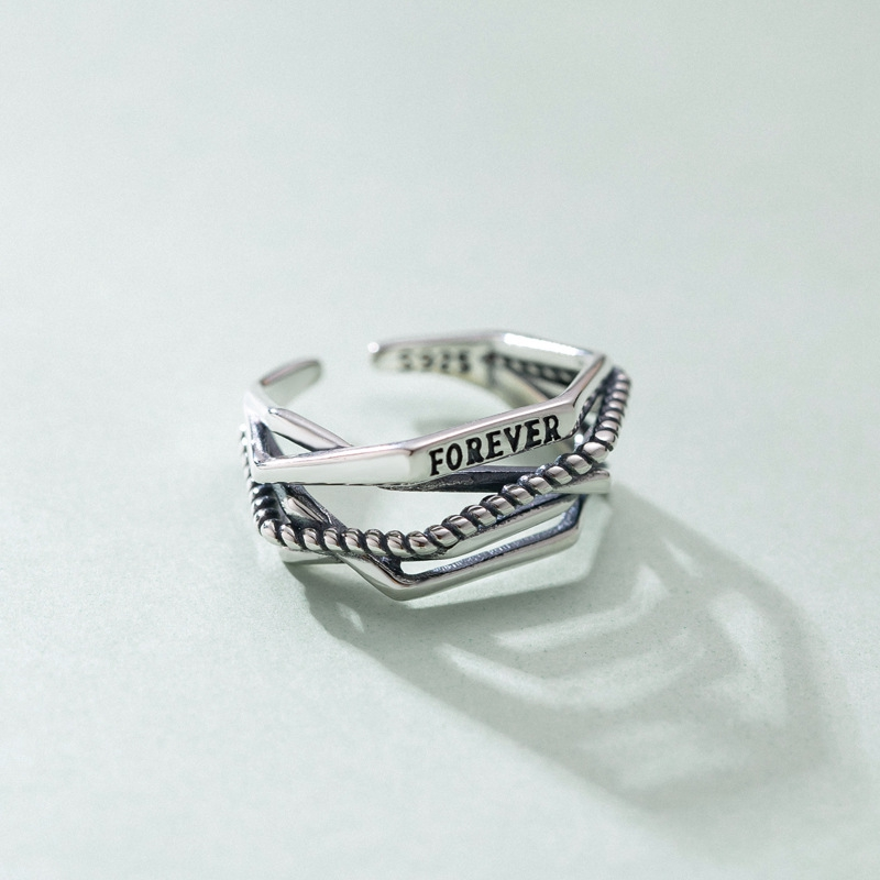 S925 Sterling Silver Ring woven with forever retro opening design multi-layer wide single ring personalized geometric ring