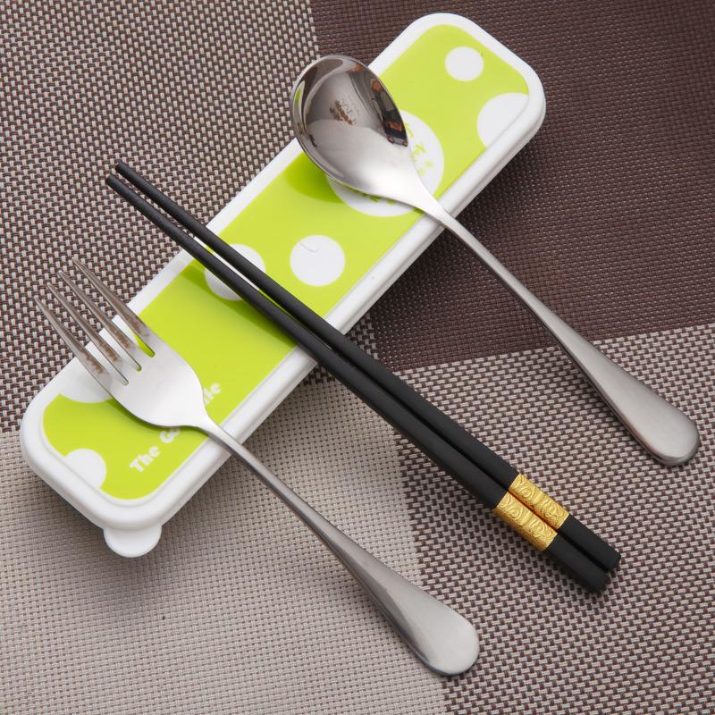 雙槍學生合金便攜式餐具盒三件套旅行不鏽鋼筷子勺子叉子套裝