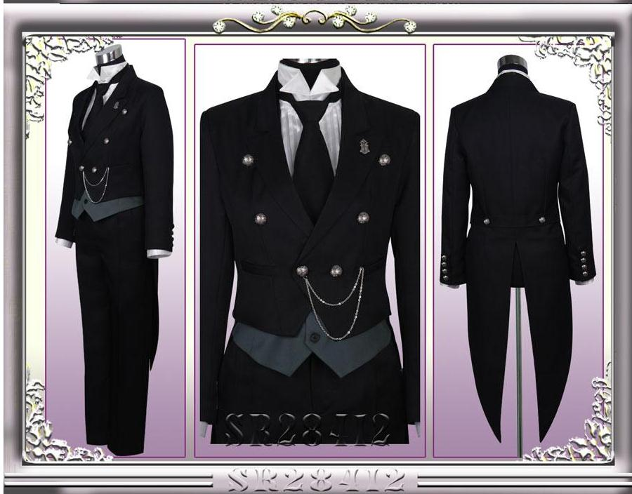 Black deacon and black housekeeper Sebastian tuxedo Cosplay dress sauce