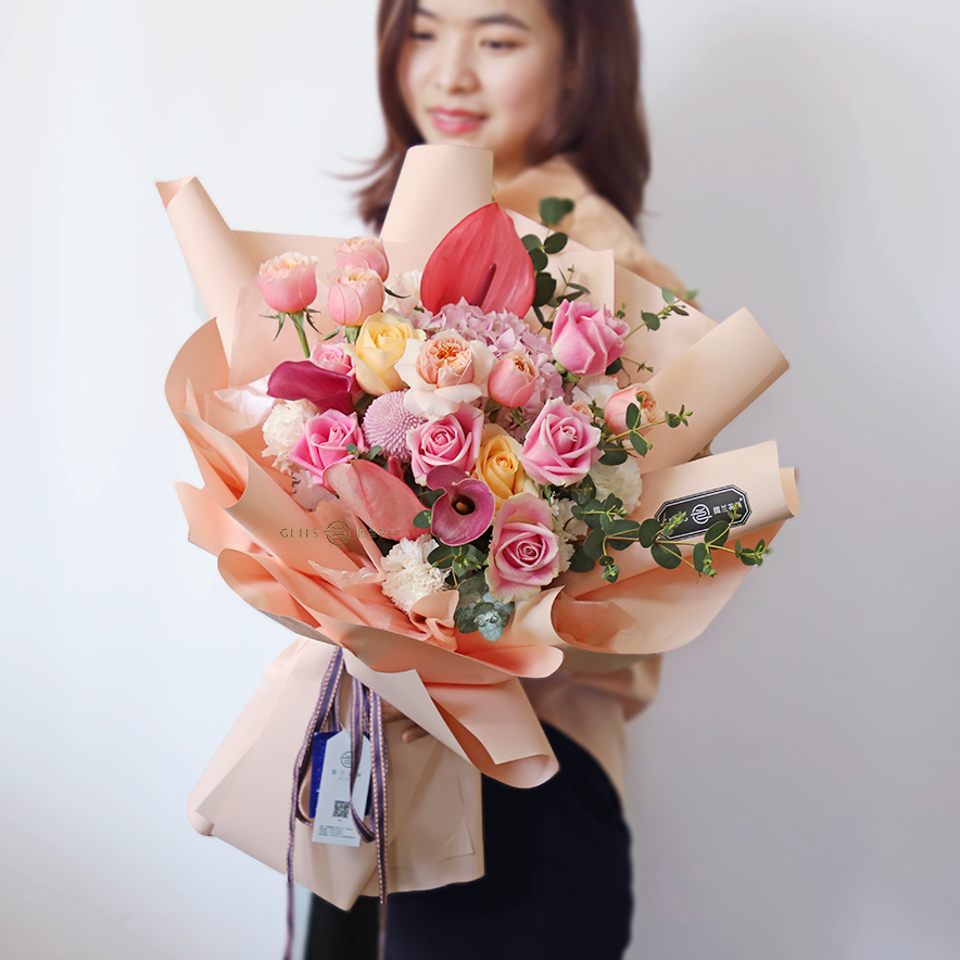 Xiamen flower express mixed with bouquet pink rose imported Calla birthday wish home delivery