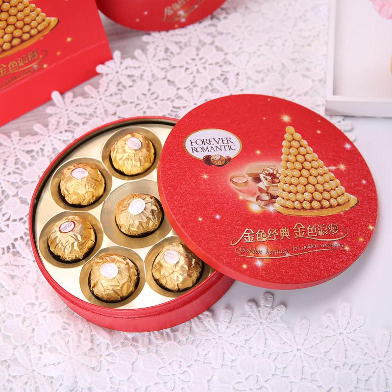 创意喜糖盒含糖结婚伴手礼盒成品糖盒费列罗6颗8颗装欧式马口铁