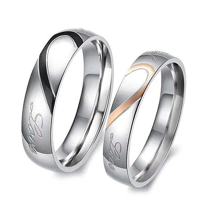 European and American Jewelry creative puzzle couple ring simple open heart titanium steel ring pair Valentines Day gift
