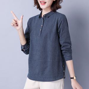 纯棉衬衫女长袖2021秋装新款大码女装中年妈妈装上衣条纹宽松t恤
