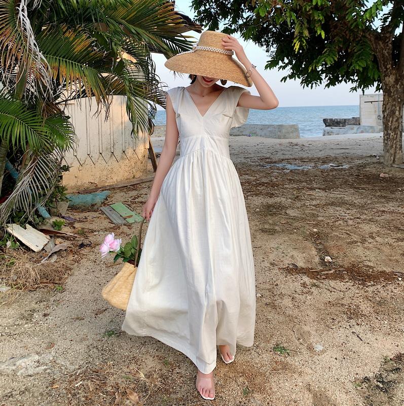 新款巴厘岛高级质感亚麻度假裙女神裙露背立体剪裁连衣裙长裙夏