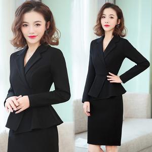 职业连衣裙女2020新款时尚气质OL西装领黑色服务员工作服连体裙子