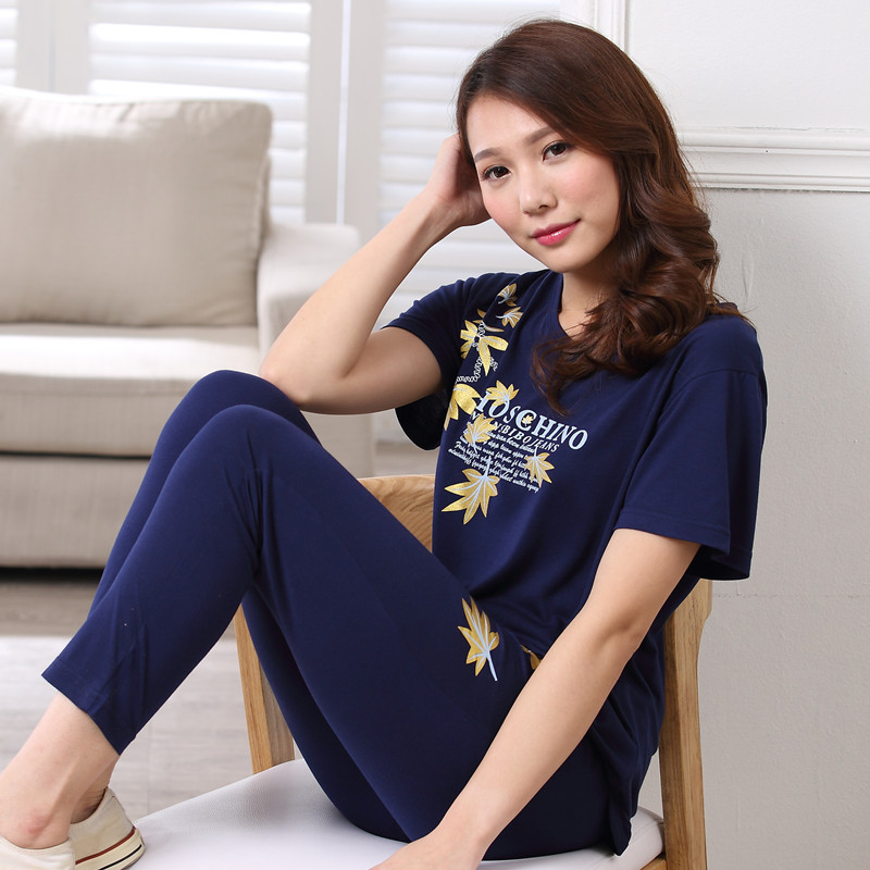 Pajamas womens summer short sleeve trousers pure cotton home clothes summer Korean half sleeve plus size girls suit student style