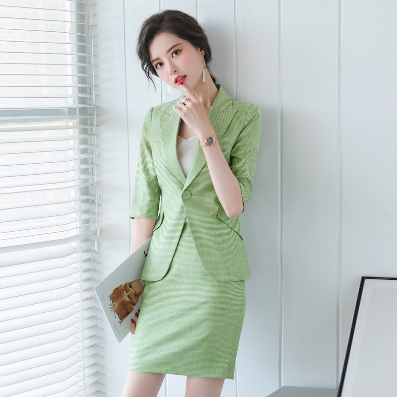 Professional women's suit new style in summer 2020 small suit fashion small fragrance mid sleeve skirt ol