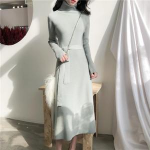 0348实拍 港味复古风高领修身显瘦长袖针织纯色连衣裙配腰带