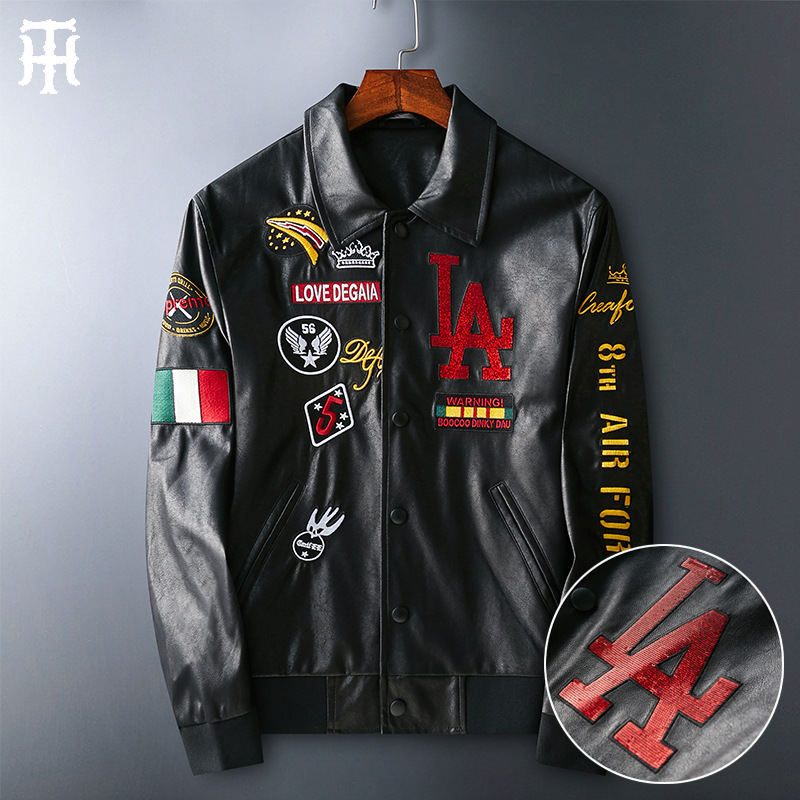 Leather Mens fashion Europe station La Sequin embroidery light luxury European goods Lapel air force motorcycle wear European leather jacket