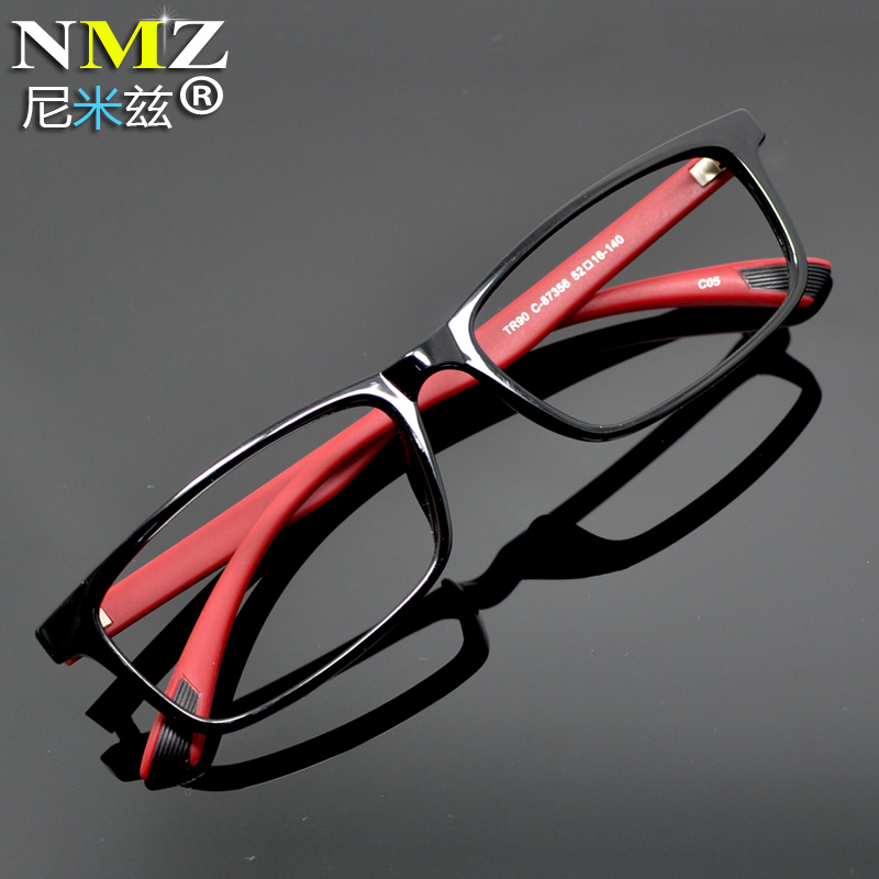 Glasses frame flat mirror Korean version TR90 ultra light frame men and women sports plate black frame can be equipped with myopia
