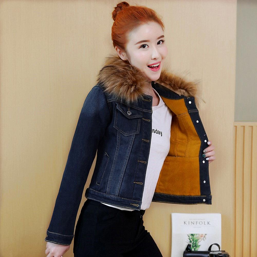 2018春秋新品 女装韩版加厚保暖大毛领修身棉衣 加绒短款牛仔外套