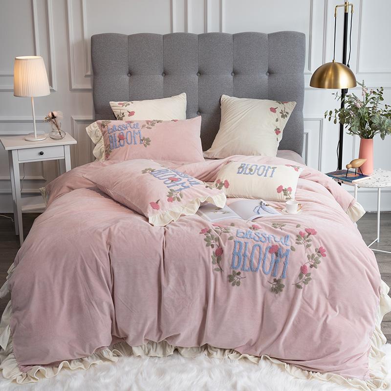 珊瑚绒四件套加绒加厚双面绒公主风法兰绒冬季牛奶绒被套床上用品