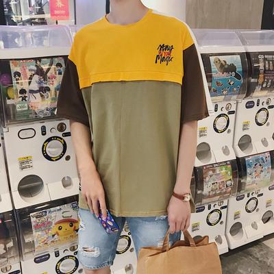 夏装新款 字母印花撞色撞色拼接宽松圆领T恤T2531-P48(控价55)