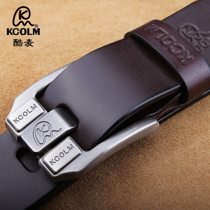 Single layer pure leather leather mens belt pin buckle leisure belt plus large size fat man wide leisure youth trend