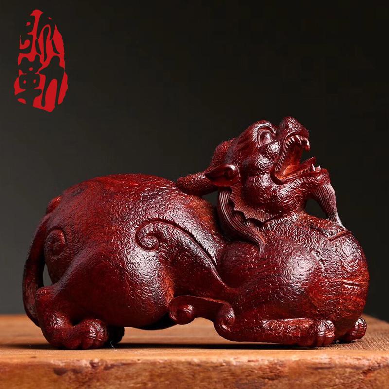 弥勒佛珠印度小叶紫檀老料招财貔貅摆件手工雕刻精品木雕家居摆件