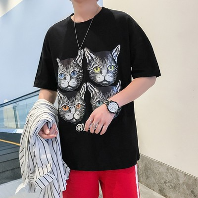 2018新款短袖青少年学生港风体恤印花四个猫 T03 P25