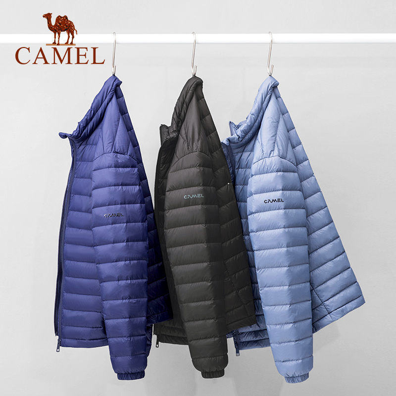 Live recommended camel men's lightweight down jacket men's trend stand-up collar white duck down warm short jacket