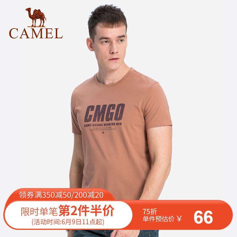 骆驼男装 夏季新款圆领印花短袖t恤男生打底衫休闲半袖上衣潮
