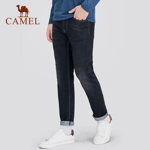 骆驼男装秋季黑色弹力牛仔裤男中腰宽松直筒韩版休闲长裤潮裤子