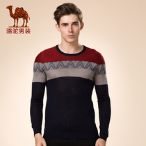 Camel Mens wear youth sleeve slimming wool crash color casual thin sweater man
