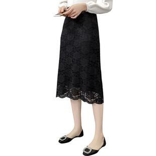 新款秋裝加小碼XS女裝小矮個子150cm顯高半身裙針織蕾絲裙包臀裙