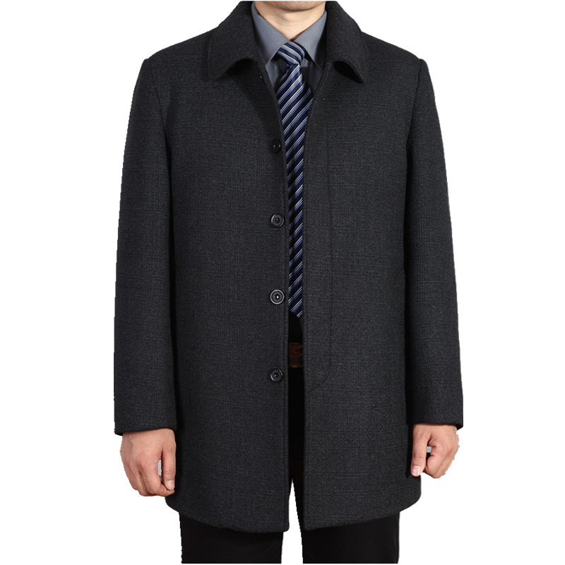 Fattening plus size middle-aged and old mens wool coat in autumn and winter