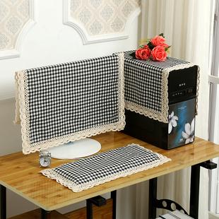棉麻液晶电脑防尘罩显示器盖巾台式一体机电脑罩套盖布27寸防尘罩