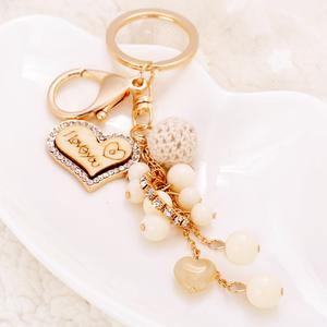 韩国可爱串珠钥匙扣女创意汽车钥匙扣男情侣款匙链挂件女包包挂饰